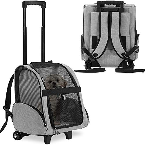 KOPEKS Deluxe Backpack Pet Travel Carrier with Double Wheels