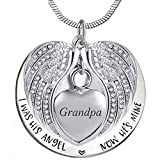 Angel Wing Urn Necklace for Ashes, Heart Cremation Memorial Keepsake Pendant Necklace Jewelry with Fill Kit and Gift Box (Grandpa)