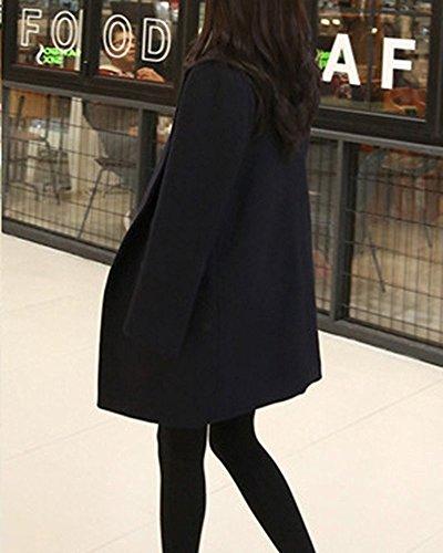 Manteaux Chaud Femme Collier Blazer Blousons Longue Mode Laine Minetom Suits La Hiver Overcoat Bleu Foncé qgwxSX