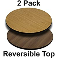 Flash Furniture 2 Pk. 36 Round Table Top with Natural or Walnut Reversible Laminate Top