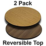 Flash Furniture 2 Pk. 36'' Round Table Top with Natural or Walnut Reversible Laminate Top