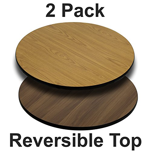 (Flash Furniture 2 Pk. 36'' Round Table Top with Natural or Walnut Reversible Laminate Top)