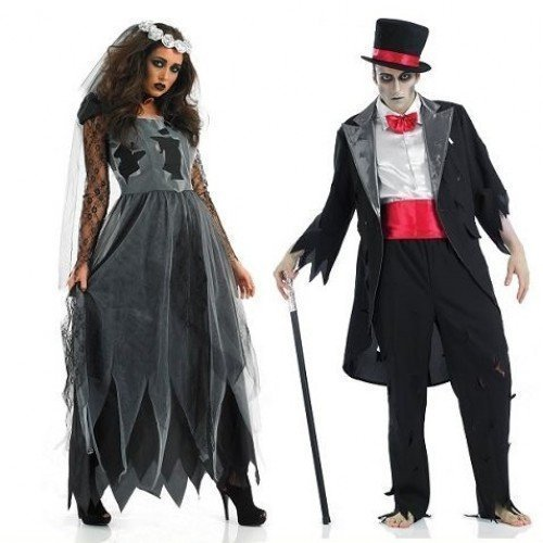 Ladies and Mens Couples Dead Deceased Corpse Ghost Zombie Bride & Groom Halloween Horror Fancy Dress Costumes Outfits (Ladies UK 12-14 & Mens Large) Black ()