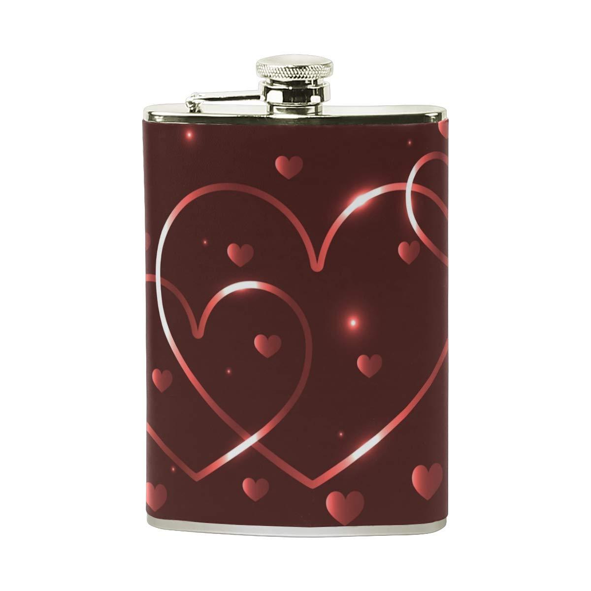 Orediy Flachmann mit roten Herzen, Edelstahl, 227 ml, tragbar, mit Leder ummantelt