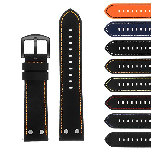 StrapsCo Silicone Rubber Aviator Watch Band with Rivets & Black Buckle - Quick Release Strap - 18mm 20mm 22mm (Band Rivets)