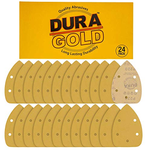Dura-Gold - Premium Hook & Loop - 24 Sheets of 220 Grit 5-Hole Hook & Loop Sanding Sheets for Mouse Sanders - Box of 24 Sandpaper Finishing Sheets for Automotive and Woodworking