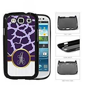 Dark and Light Purple Giraffe Animal Pattern and White Gray Vertical Stripes on Bottom with Purple and White Monogram Circle in Center Outlined in Gold Hard Plastic Snap On Cell Phone Case Samsung Galaxy S3 SIII I9300