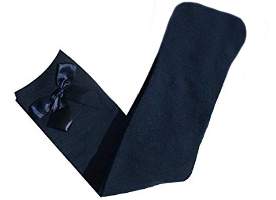 4 PAIRS GIRLS BOW KNEE HIGH SOCKS SCHOOL SOCKS/DRESS SOCKS Black-Grey-White-Navy 65% Cotton