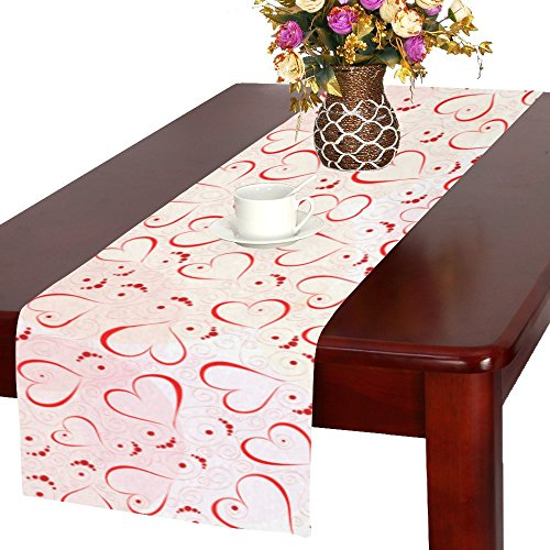 InterestPrint Abstract Red Heart Long Table Runner 16 X 72 Inches, Romantic Valentines Day Rectangle Table Runner Cotton Linen Cloth Placemat for Office Kitchen Dining Wedding Party Home Decor
