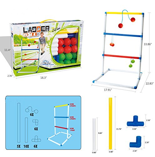 FixtureDisplays Ladder Toss Game Set with 6 Bolos Backyard Family Kid Games 16856-NPF by FixtureDisplays