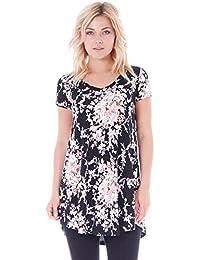 Popana Women's Tunic Tops for Leggings Short Sleeve Summer Shirt Made in USA 3X ST57 Flower