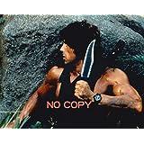直輸入、大きな写真「ランボー2」スタローン、岩陰のナイフ