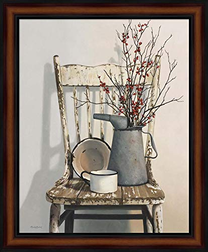 Watering Can On Chair by Cecile Baird Framed Art Print Wall Picture, Traditional Brown Frame, 19 x 23 inches