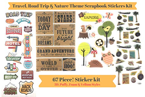 64 Piece! Travel, Road Trip & Nature Theme Scrapbook Stickers Kit | Vintage Stickers Bundle!