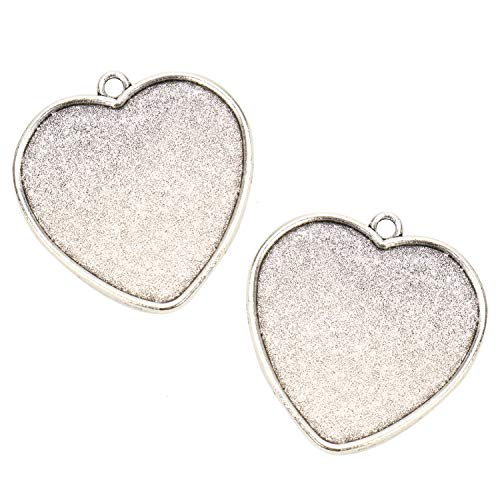 (JETEHO Pack of 20 Silver Heart Pendant Tray 30mmx34mm1 Cabochon Bezel Settings Heart Bezel Pendant Trays for Jewelry Making)