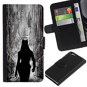 LECELL--Cuero de la tarjeta la carpeta del tirón Smartphone Slots Protección Holder For Apple Iphone 6 -- Cat Woman City --