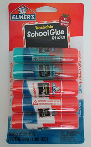 - Elmer's Washable School Glue Sticks - 5 Sticks (Gel & All-purpose)