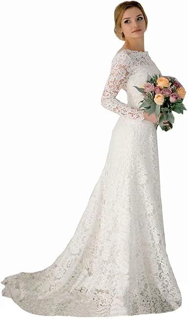 Amazon Com Vintage Long Sleeves Wedding Dresses Romantic Lace Mermaid Backless Wedding Gowns Bridal Dresses White Clothing