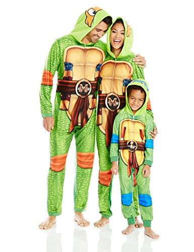 Tmnt Suit (Nickelodeon Men's Teenage Mutant Ninja Turtles Family Cosplay Union Suit, Green, Adult L)