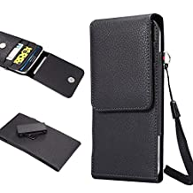 Galaxy S8/S9 Plus Smart Phone Pouch,PU Leather Vintage Holster Case with Card Holder,Waist Pack Easy Carrying Bag with Strap & Belt Clip for Samsung Galaxy Note 8, Most 6.3 Inch Cell Phones - Black