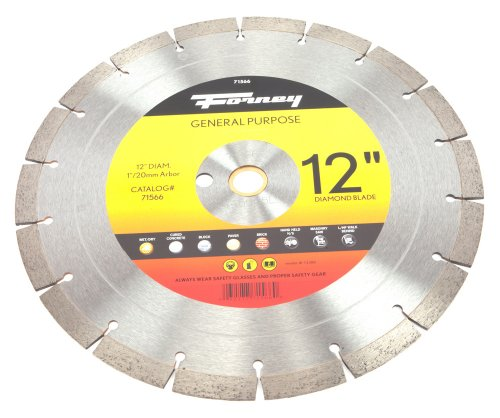 Forney 71566 Diamond Contractor Blade with 1-Inch Arbor w...
