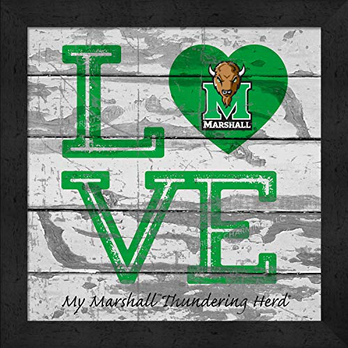 Prints Charming College Love My Team Logo Square Marshall Thundering Herd Framed Posters 13x13 -