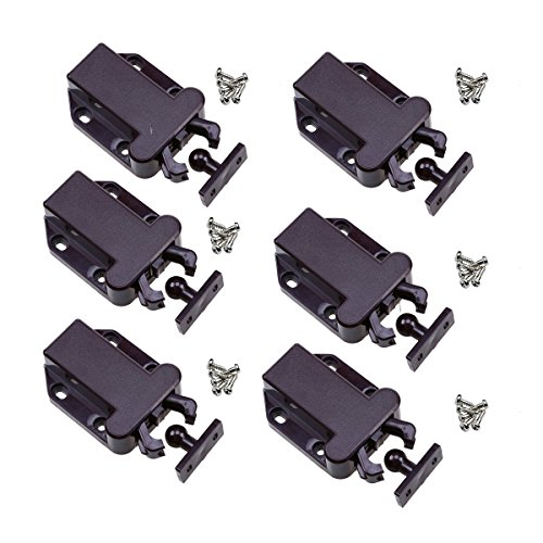 WHOSEE 6-Pack Push To Open Catch Lock Drawer Cabinet Catch Touch Latch Cupboard (Push Latch)