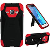 HR Wireless Cell Phone Case for Samsung Galaxy J1 - Retail Packaging - Black & Red