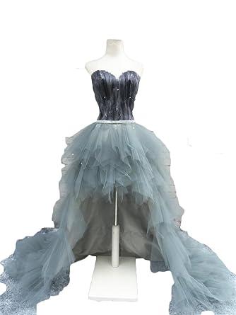 4d14cbd9e24 Dydsz Women s Off Shoulder Low High Feather Prom Party Dresses Plus Size  2017 D149 Gray