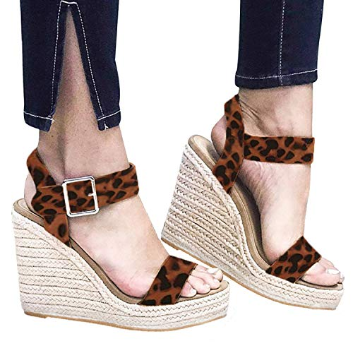 XMWEALTHY Women's Wedge Sandals Casual Sandals Shoes Summer Ankle Buckle Open Toe Wedges Heels US Size 5.5 Leopard