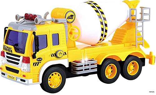 Memtes Friction Powered Cement Mixer Truck Toy with Lights and Sound for -