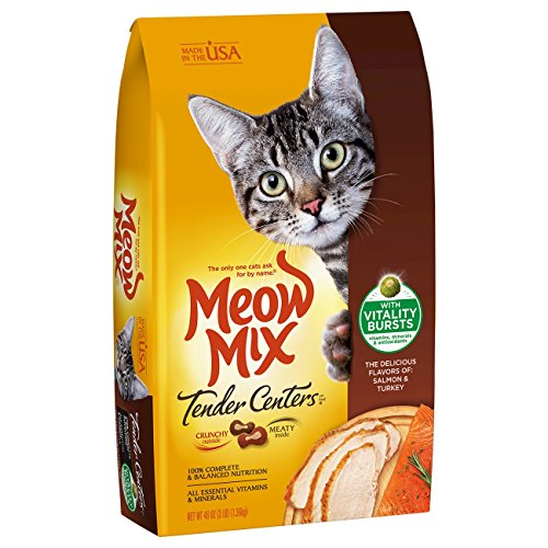 Meow Mix Tender Centers Salmon & Turkey Flavors With Vitality Bursts, 3 Lb (Pack Of 4)