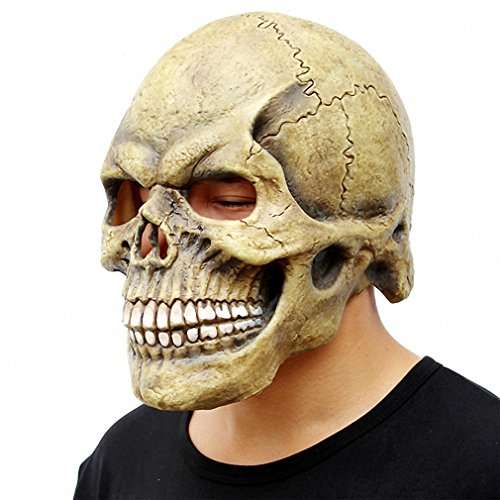 Scary Skull Mask Full Head Realistic Latex Party Mask Horror Halloween Mask Cosplay Toy Props Dark (Skull Mask Latex)