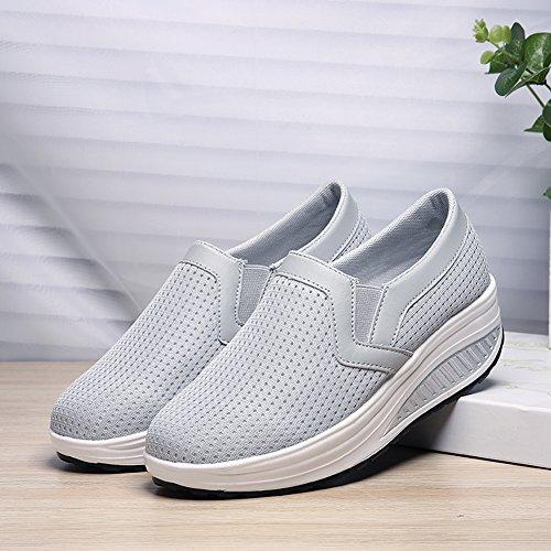 sneakers for cheap e4bec d33dc ... Skaka Womens Shape Ups Mesh Slip-on Tillfälliga Promenad Kilar Skor  Andas Träna Sneakers För