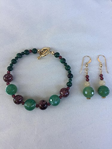 Gemstone handmade Christmas bracelet and earrings. Mixed gemstones in green and red. One of a kind by The Stonz Project