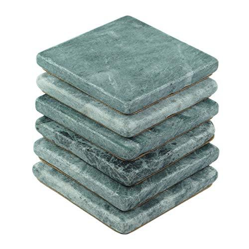 (Stella Italian Green Marble Drink Coasters 6pc - Premium Natural Stone)