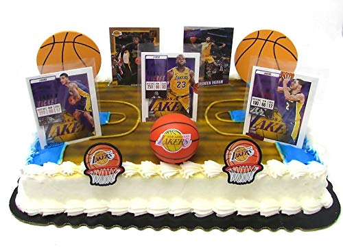 Los Angeles LAKERS Basketball Team Themed Birthday Cake Topper Set Featuring Lakers Player Basketball Cards and Themed Accessories ()