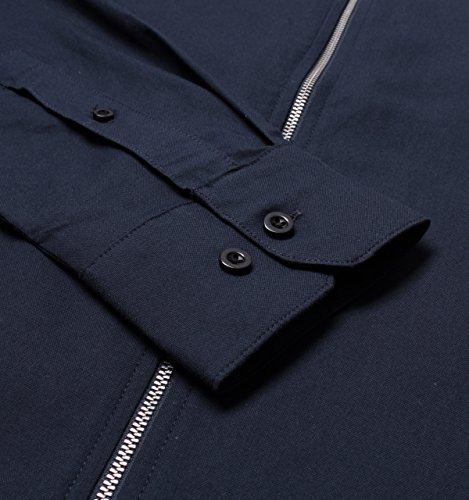 Farah Roscoe Navy Long Sleeve Zip-Through Shirt