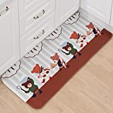 B&S FEEL Lovely Cartoon Bears Pattern Non-slip Soft Kids Bedroom Floor Mat Kitchen Rug,47x20 Inches