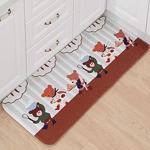 B&S FEEL Lovely Cartoon Bears Pattern Non-slip Soft Kids Bedroom Floor Mat Kitchen Rug,47x20 Inches by B&S FEEL