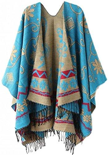 Poncho Pull Cape Laine Grande Taille Vintage Chale Tartan A Carreaux Foulard Chaud Femme Hiver Automne