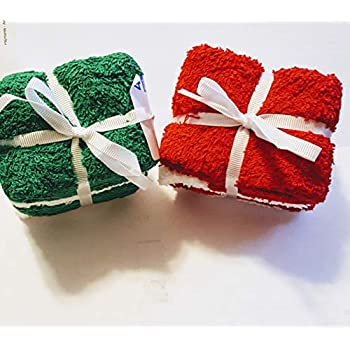 Mainstay RED Green & White WASH Cloths (8 Piece) …
