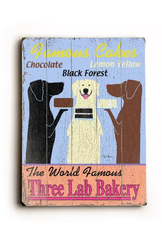 One Bella Casa The World Famous Three Lab Bakery - Wood Wall Decor by Ken Bailey 9 X 12