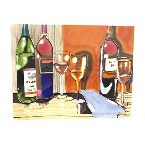 Wine Tasting Decor (Ceramic Art Plaque by Tile Craft, Wine Tasting with Wine Bottles and Glasses, Wall Decor, 11