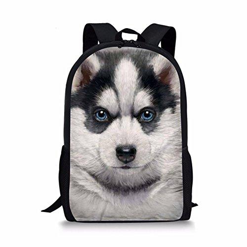HUGS IDEA Husky Face Backpack for Chrildren Fashion Daily Travel Bagpack Kids School Shoulder - Face Mems