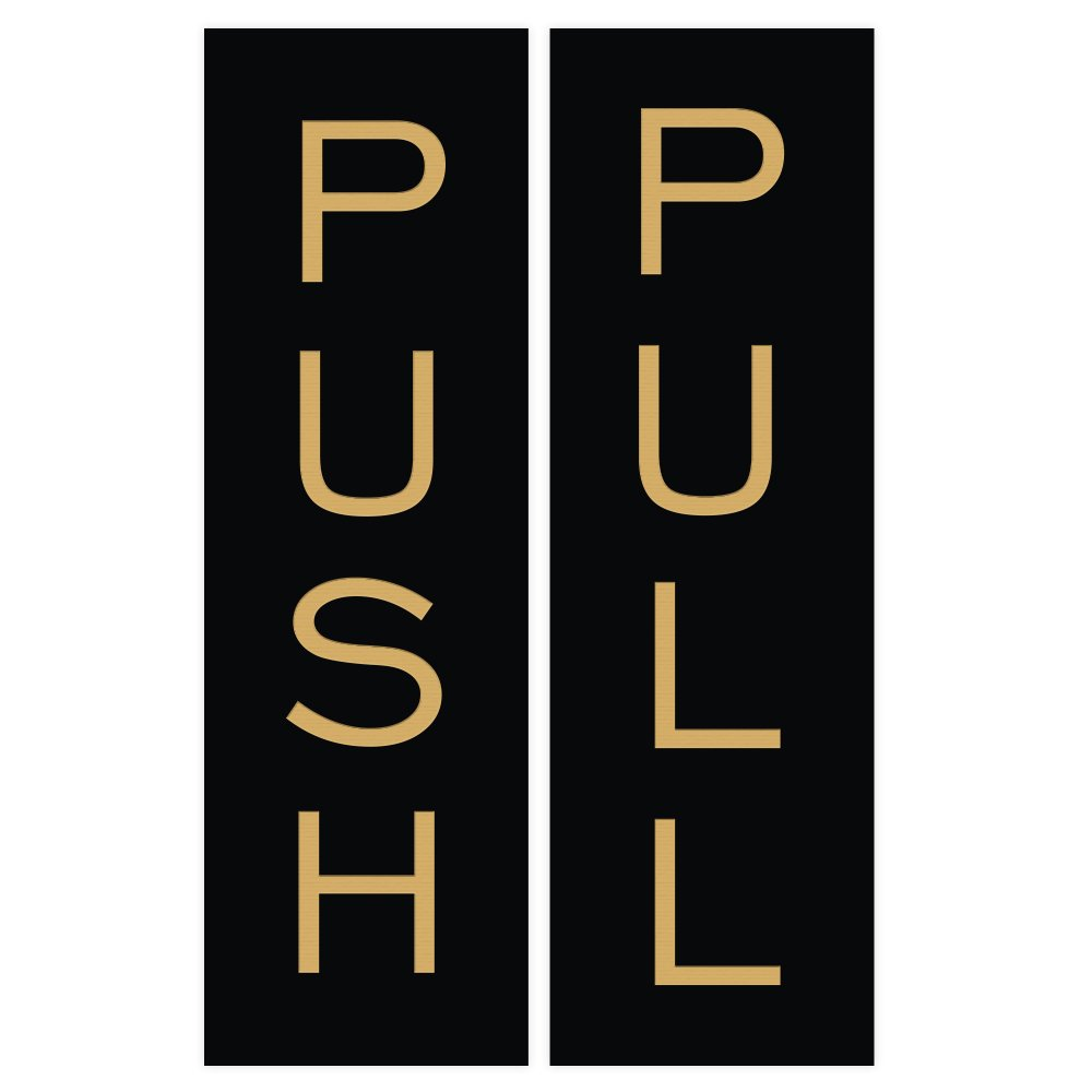 Black//Gold Small All Quality Push Pull Vertical Standard Door Sign