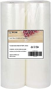 WISH Vacuum Sealer Bags Rolls (2-Pack), 11 Inch X 50 Feet Heavy Duty Embossed Food Storage Saver Bags Rolls Sous Vide Cooking Bags (100 Feet Total)