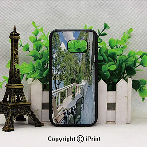 Home Patio Balcony with Peaceful Woods in Clear Sunny Sky Photo S7 Full Body Protector Shockproof Cover Black Soft TPU and PC Protection Anti-Slippery Case for Samsung S7 White Green and Sky Blue (Cover Madrid Patio)