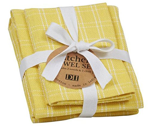 - DII Kitchen Dish Towel Set - 2 Towels & 1 Dish Cloth Heavyweight Cotton Basketweave in Bright Spring Colors (Snapdragon Yellow)
