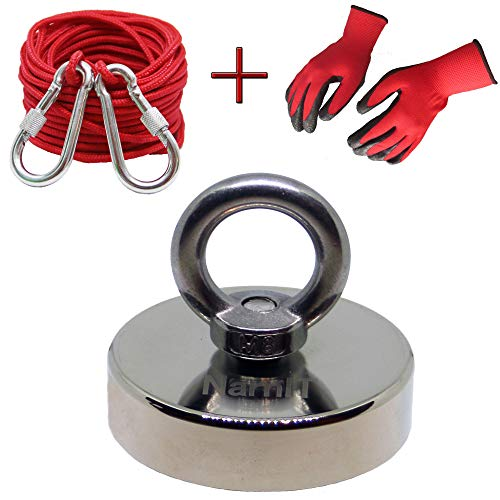NarnIT Strong Neodymium Fishing Magnet - 380 Lbs Pulling Force Round Underwater Metal Detector Bundle with 33 Feet Rope, 2 Carabiners and Gloves for Fishing, Lifting, Hanging, Retrieving Applications
